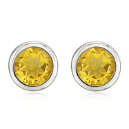 14K White Gold Bezel Set Citrine Studs