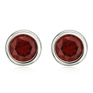 14K White Gold Bezel Set Garnet Studs