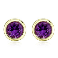 ROUND AMETHYST YELLOW GOLD STUDS