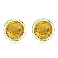 ROUND YELLOW CITRINE STUDS