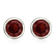 14K White Gold 8mm Bezel Set Garnet Studs