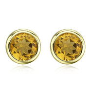 ROUND YELLOW CITRINE BEZEL SET STUDS