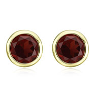 ROUND DARK RED GARNET BEZEL SET STUDS