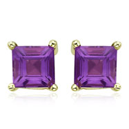 Square Purple Amethyst Prong Set Studs