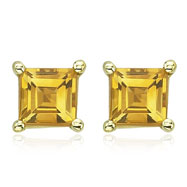 SQUARE YELLOW CITRINE STUDS