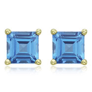 SQUARE BLUE TOPAZ PRONG SET STUDS