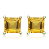 SQUARE YELLOW CITRINE PRONG SET STUDS