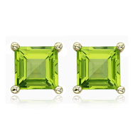 SQUARE GREEN PERIDOT PRONG SET STUDS