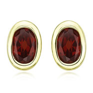 OVAL SHAPE GARNET BEZEL SET STUDS