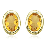 OVAL SHAPE CITRINE BEZEL SET STUDS