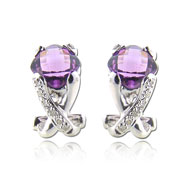 Cushion Cut Amethyst With White Gold Diamond Earrings
