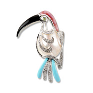 Parrot Pin w/ Diamonds, Gemstones Pearl - White Gold