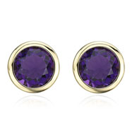 14K Yellow Gold 8mm Bezel Set Amethyst Studs