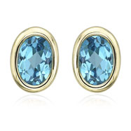 OVAL SHAPE BLUE TOPAZ BEZEL SET STUDS