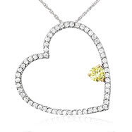 14K White Gold Slanted, Cut-Out Diamond Heart Pendant