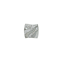 Sterling Silver Square with Waves Pendant with White Mother of Pearl and CZ