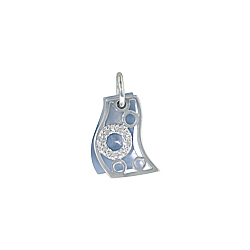 Sterling Silver and Blue Mother of Pearl Filigree Wave Pendant with White CZ