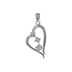 Sterling Silver Heart Pendant with White CZ