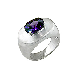 Sterling Silver High Polish and Matte Finish Oval Ring with Amethyst CZ