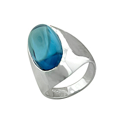 Sterling Silver Oval Ring with Blue Crystal