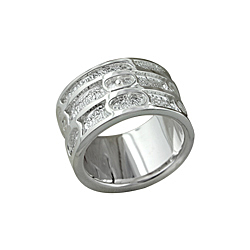 Sterling Silver Lines and Ovals Ring