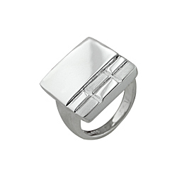 Sterling Silver Square Ring with Rectangular Pattern