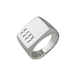 Sterling Silver Rectangular Ring with Square Openings