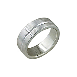 Sterling Silver Matte Finish Ring with Lines