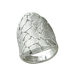 Sterling Silver Scratch Finish Cobblestone Ring