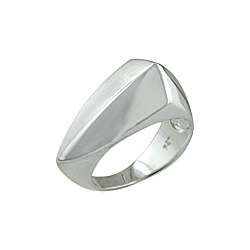 "Sterling Silver Matte and High Polish Finish ""Shield"" Ring"