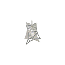 Sterling Silver Filigree Hearts Pendant with White Mother of Pearl and White CZ