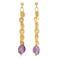 14K Yellow Gold Open Link & Round Disc Amethyst Dangle Earrings