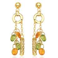 14K Yellow Gold Peridot & Yellow Topaz Dangle Earrings
