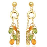 14K Yellow Gold Peridot & Yellow Topaz Dangle Earrings