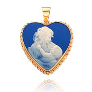 14K Yellow Gold 20mm Heart-Shaped Mother & Child Blue Porcelain Cameo Pendant