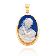 14K Yellow Gold 21mm Mother & Child Blue & White Porcelain Cameo Pendant