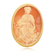 14K Yellow Gold 44mm Shell Cameo Pendant/Pin