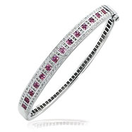 14K White Gold Pink Sapphire & Diamond Square Designs Bangle Bracelet
