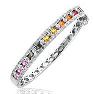 14K White Gold Rainbow Sapphire & Diamond Bangle Bracelet