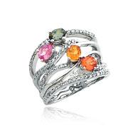 14K White Gold Rainbow Sapphire & Diamond Wavy Shank Ring