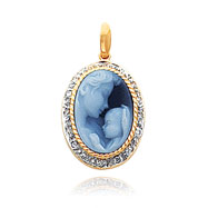 14K Yellow Gold 14mm Mother & New Arrival Agate & Diamond Smooth Frame Cameo Pendant