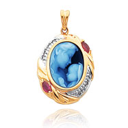 14K Yellow Gold 16mm Mother & New Arrival Agate, Diamond & Ruby Cameo Pendant