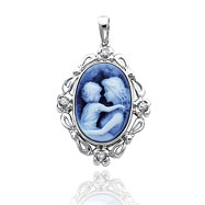 14K White Gold Everlasting Love Diamond Agate Cameo Pendant