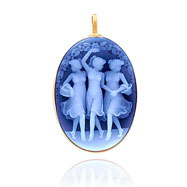 14K White Gold Traditional Agate Cameo Pendant