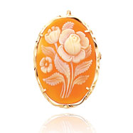 14K Yellow Gold Traditional Rose Design Shell Cameo Pin/Pendant