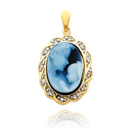 14K Yellow Gold 14mm Diamond Accented Twisted Frame Mother Agate Cameo Pendant