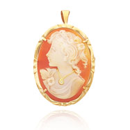 14K Yellow Gold 30mm Diamond Accented Shell Cameo Pendant/Pin