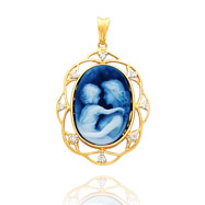 14K Yellow Gold Diamond Adorned Frame Everlasting Love Agate Cameo Pendant