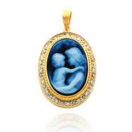 14K Yellow Gold Wide Frame & Diamond Everlasting Love Agate Cameo Pendant