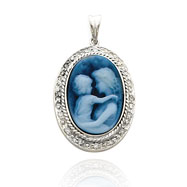 14K White Gold Wide Frame & Diamond Everlasting Love Agate Cameo Pendant